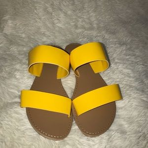 Shoes - Yellow two strap sandals